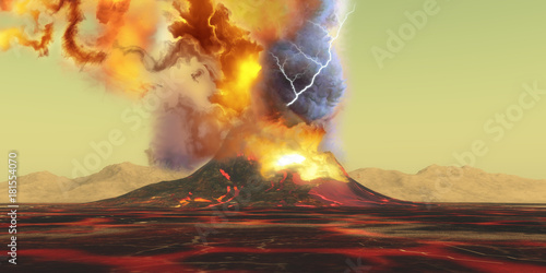 Wallpaper Mural Volcano Eruption - A volcano erupts with a burst of smoke, fire and ash as the landscape becomes rivers of molten lava