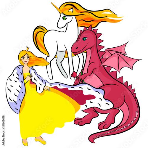 princess, unicorn, dragon