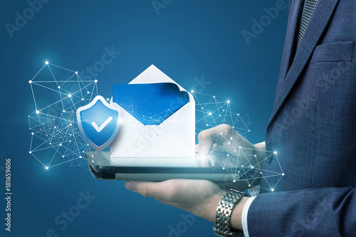 Businessman showing protected email .