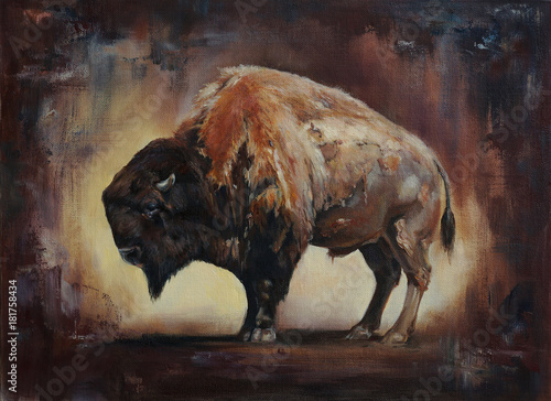 Carta da parati standing side view bison oil painting with canvas and paint texture