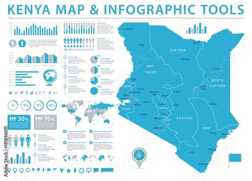 Wallpaper Mural Kenya Map - Info Graphic Vector Illustration