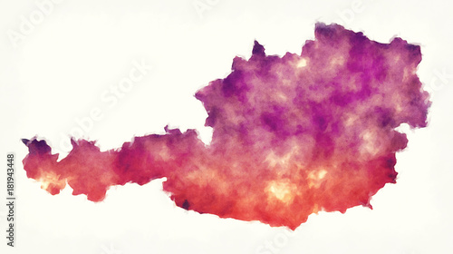 Canvas Print Austria watercolor map in front of a white background