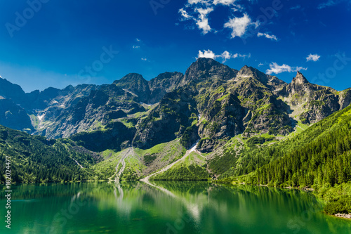Famous green pond in the mountains at sunrise in Poland