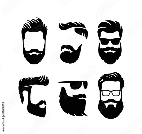 Stampa su Tela Set bearded men faces hipsters with haircuts.