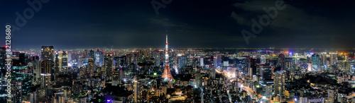 日本・東京タワーと東京都心の夜景