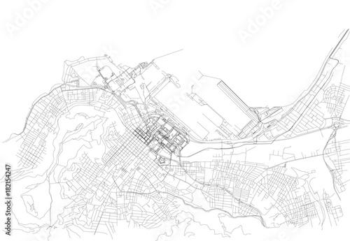 Fotografie, Obraz Strade di Città del Capo centro, cartina della città, Sudafrica