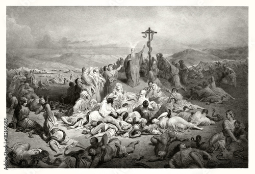 Fotografia, Obraz Reproduction of The Brazen Serpent, Biblical illustration