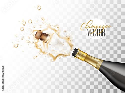 Canvas Print vector realistic champagne explosion closeup