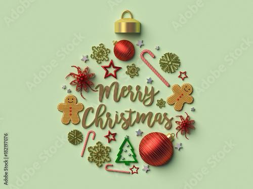 Billede på lærred Merry Christmas Christmas ball background