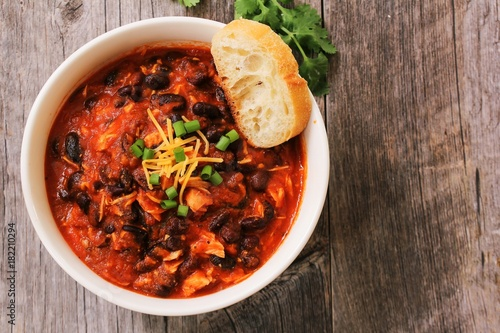 Homemade Turkey Chili with beans and scallions / Thanksgiving Leftovers Fototapeta