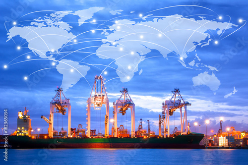 Map global logistics partnership connection of Container Cargo freight ship for Logistics Import Export background at sunrise