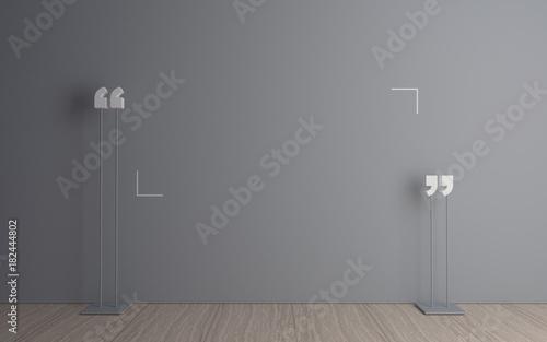3D illustration. Massive quotation mark in a dark room. Modern conceptual interior. Background for banner