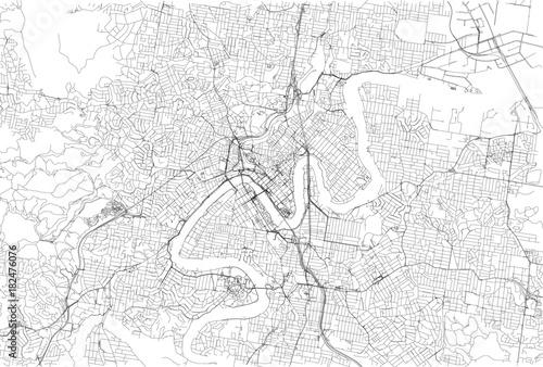 Obraz na plátně Strade di Brisbane centro, cartina della città, Australia