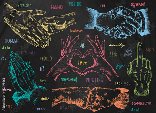 Slika na platnu Signs hands, business shaking, folded heart, folded in prayer, folded heart