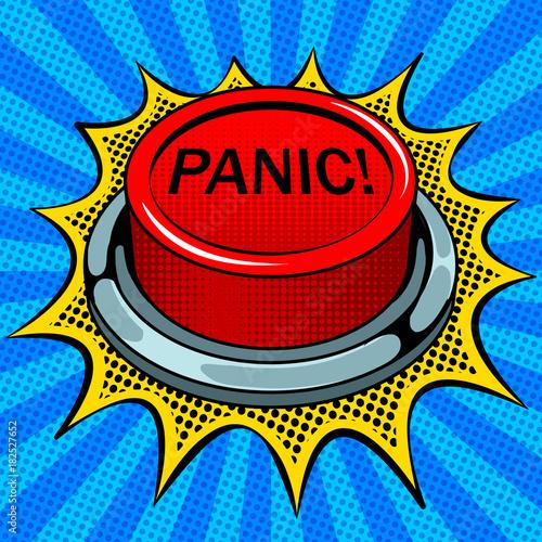 Wallpaper Mural Panic red button pop art vector illustration