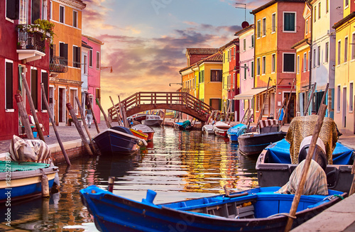 Stampa su Tela Burano island in Venice Italy picturesque sunset over canal