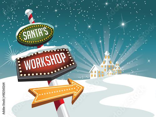 Obraz na plátně Retro sign pointing to Santa's workshop at the North Pole