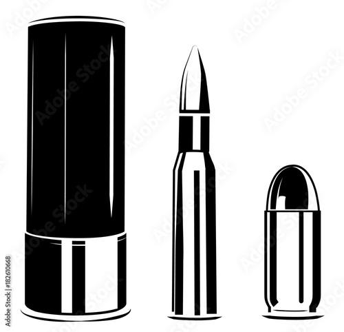 Carta da parati Vector set bullet caliber of weapon