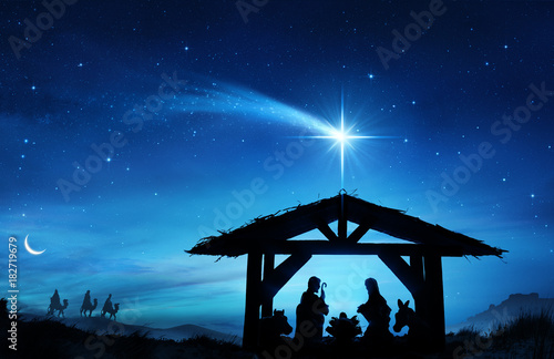 Foto Nativity Scene With The Holy Family In Stable