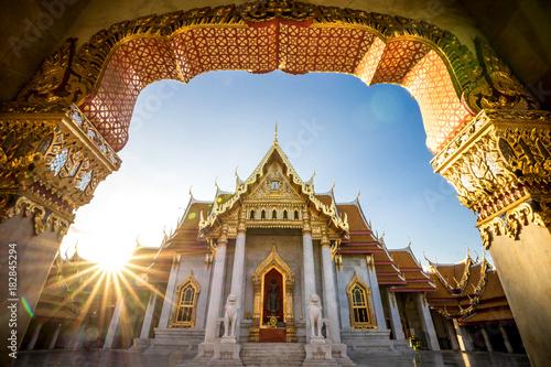 Canvas Print Bangkok City - Benchamabophit  dusitvanaram temple from Bangkok Thailand