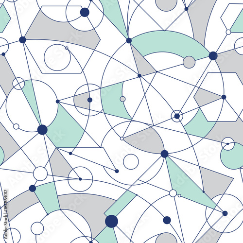 Grid seamless pattern with random geometric shapes and lines