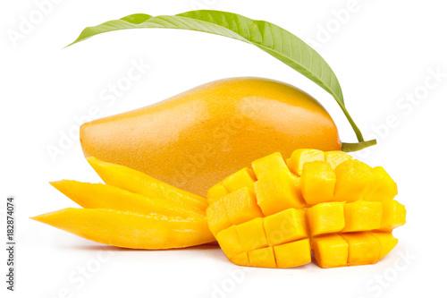Mango fruit and mango slice with leaf isolated white background