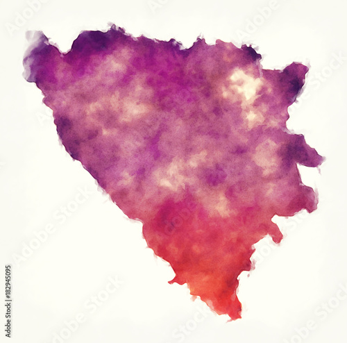 Wallpaper Mural Bosnia Herzegovina watercolor map in front of a white background