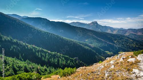 Mountain peak Giewont from between hillocks defile. Tatra mountains, Poland