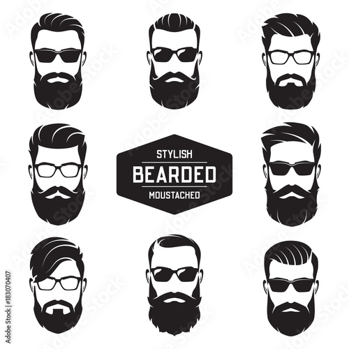 Carta da parati Set of vector various bearded men faces.