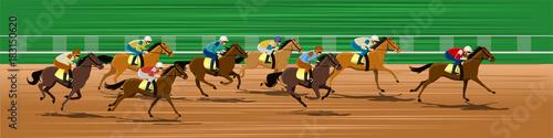Fotografering Horse racing, Racecourse, Jockey