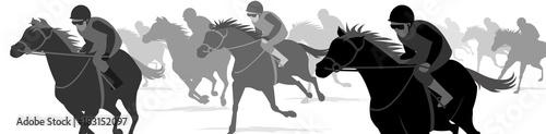 Fényképezés Horse race Silhouette, Racecourse, Jockey