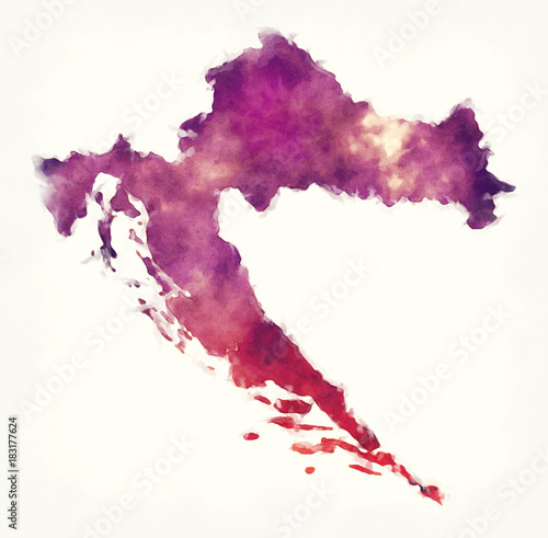 Canvas Print Croatia watercolor map in front of a white background