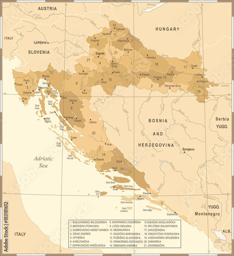 Canvas Print Croatia Map - Vintage Detailed Vector Illustration