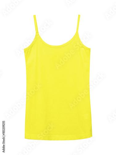 Fotografia Yellow underwear sleeveless empty summer t shirt camisole isolated on white