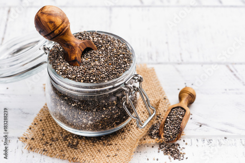 Healthy chia seeds in a glass jar