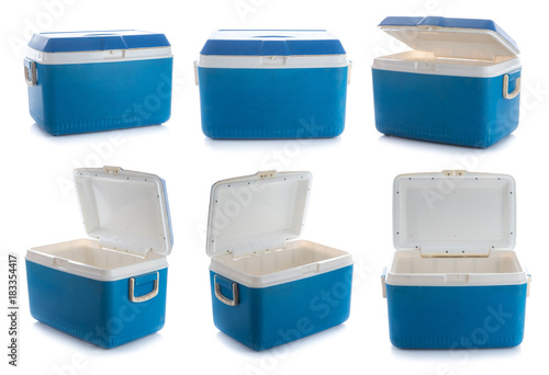 Collection of handheld blue refrigerator isolated on white background