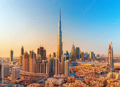 Fototapeta DUBAI ,UNITED ARAB EMIRATES-FEBRUARY 18, 2017: Beautiful Dubai downtown at the s