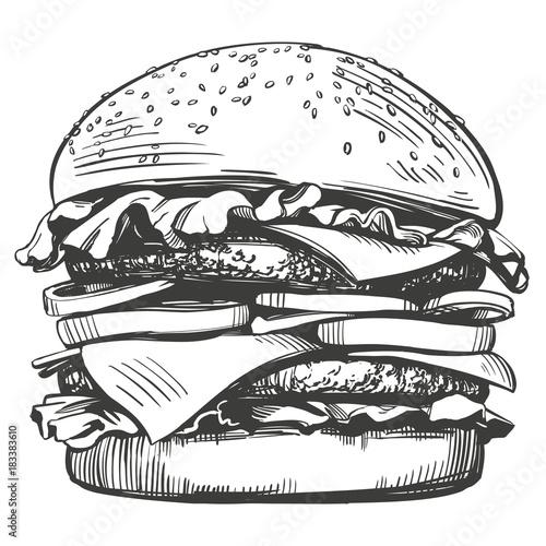 Tablou Canvas big burger, hamburger hand drawn vector illustration sketch retro style