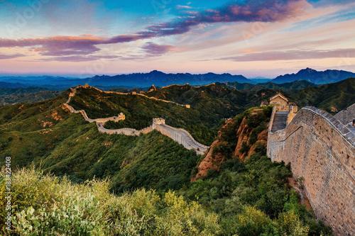 Fotografie, Tablou Beijing, China - AUG 12, 2014: Sunrise at Jinshanling Great Wall of China