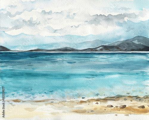 Ocean akwareli ręki obrazu ilustracja.