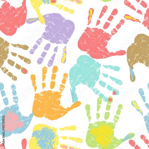 Druki ręki, bezszwowy wzór, wektorowa ilustracja