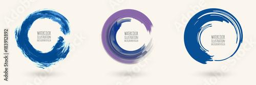 Fotografija Watercolor circle texture. Vector circle elements