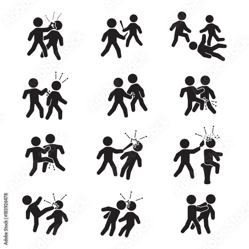 Leinwand Poster Violence icon set. Vector. Bar fight, street fight and others.