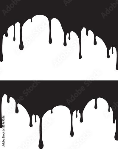 Slika na platnu Pair of black paint drips. Vector illustration for your design.