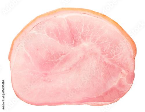 tasty delicious pork ham slice isolated on white background