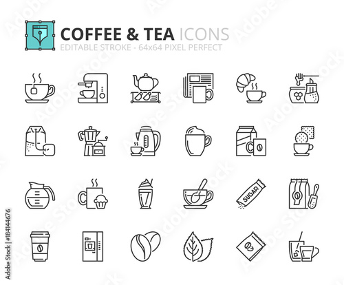Foto Outline icons about coffee and tea