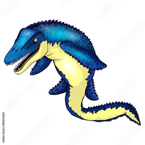 Cute cartoon mosasaurus фототапет