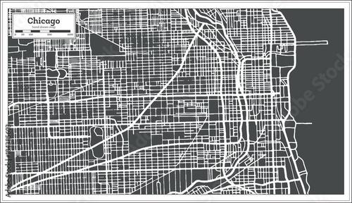 Fotografie, Obraz Chicago Illinois USA Map in Retro Style.