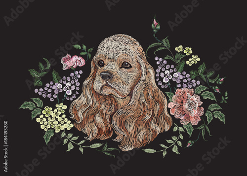 Obraz na plátně Embroidery floral pattern with dog, lilac and roses
