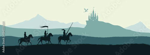 Foto Black silhouette of knights on background of castle attacked by dragon